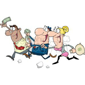 cartoon vector funny business people money marketing man run running women sale sales employee chaos crazy looting