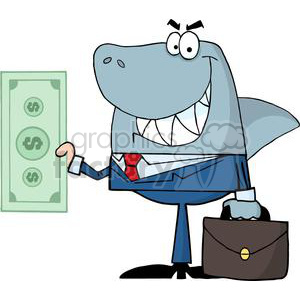 3277-Business-Shark-Holding-Cash clipart. Royalty-free image # 380615