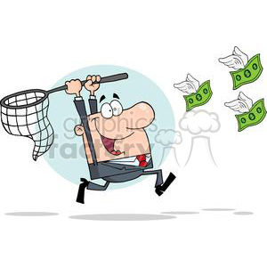 3296-Happy-Businessman-Chasing-Money clipart. Royalty-free image # 380620
