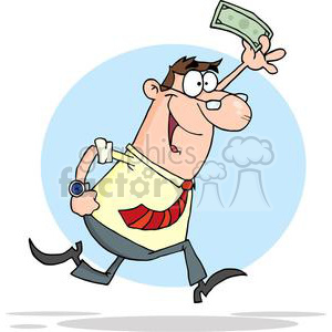 Excited businessman running with a dollar clipart. Commercial use image # 380625