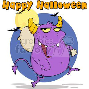 3136-Happy-Monster-Runs-With-Bag clipart. Royalty-free image # 380630