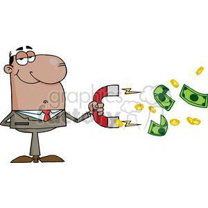 3162-African-American-Businessman-Using-A-Magnet-To-Attracts-Money clipart. Royalty-free image # 380635