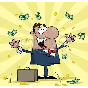3197-Happy-African-American-Businessman-With-Money clipart. Royalty-free image # 380640