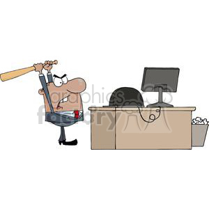 businessman mad at his computer clipart. Commercial use image # 380650