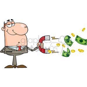 3160-Businessman-Using-A-Magnet-To-Attracts-Money clipart. Royalty-free image # 380655