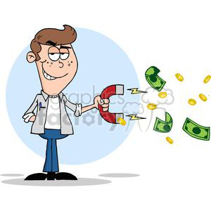 3165-Happy-Youth-Using-A-Magnet-To-Attracts-Money clipart. Royalty-free image # 380670
