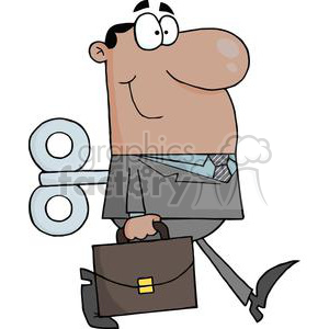 businessman with a wind up key in his back clipart. Commercial use image # 380695