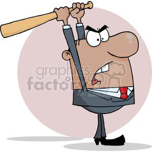 3310-Angry-African-American-Businessman-With-Baseball-Bat clipart. Royalty-free image # 380705