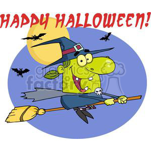 happy halloween witch riding her broom