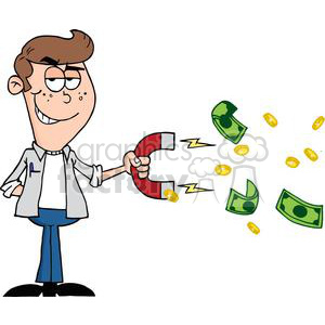 3164-Happy-Youth-Using-A-Magnet-To-Attracts-Money clipart. Commercial use image # 380750