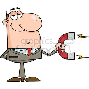 3146-Businessman-Using-A-Magnet clipart. Commercial use image # 380755