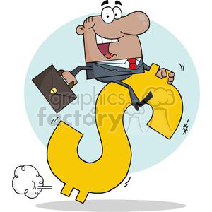 businessman riding on a dollar symbol clipart. Commercial use image # 380760
