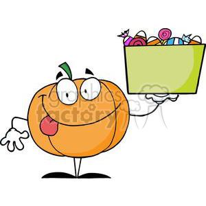 3206-Happy-Pumpkin-Character-Holding-Up-A-Tub-Of-Candy clipart. Royalty-free image # 380765