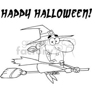 happy Halloween witch flying on her broom clipart. Royalty-free image # 380780