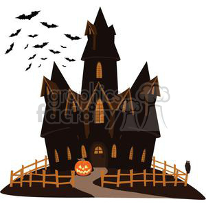 cartoon vector illustrations Halloween haunted house trick or treat haunt scary jack-o-lantern pumpkin hotel nightmare