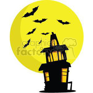 haunted house with huge moon clipart. Commercial use image # 380795