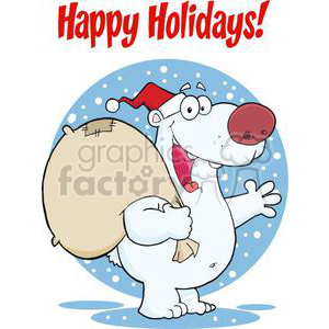 3436-Happy-Santa-Polar-Bear-Waving-A-Greeting-In-The-Snow clipart. Commercial use image # 380821