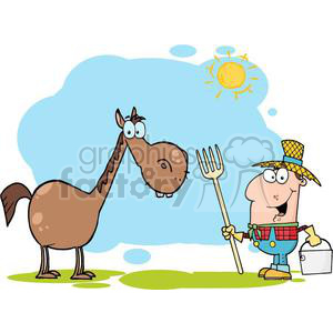 3372-Male-Farmer-With-Horse clipart. Royalty-free image # 380831