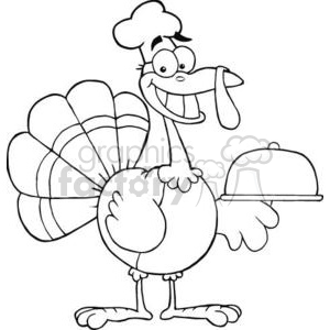 Happy Turkey Chef Serving A Platter clipart. Commercial use image # 380851