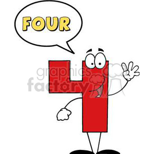 3453-Friendly-Number-4-Four-Guy-With-Speech-Bubble clipart. Royalty-free image # 380856