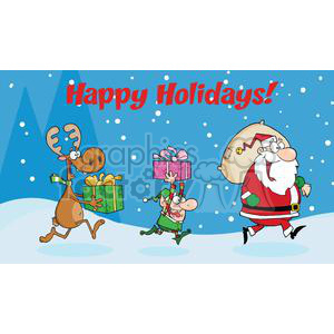 3339-Happy-Holidays-Greeting-With-Santa-Claus,Elf-and-Reindeer-Runs-With-Gifts clipart. Royalty-free image # 380861