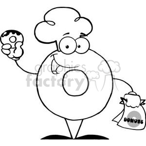 3478-Friendly-Donut-Cartoon-Character-Holding-A-Donut clipart. Royalty-free image # 380911