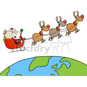 Team of Reindeer And Santa in His Sleigh Flying Above The Globe clipart. Commercial use image # 380921