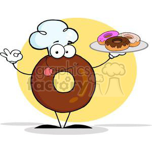 3483-Friendly-Donut-Chef-Cartoon-Character-Holding-A-Donuts