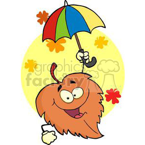 3386-Happy-Leaf-With-Umbrella clipart. Royalty-free image # 380931