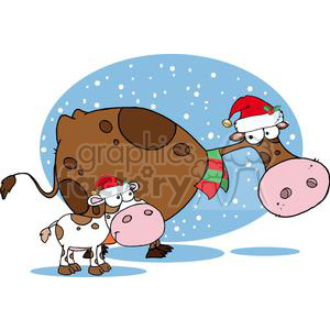 mom and baby cow wearing Santa hats clipart. Royalty-free image # 380936