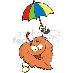 3385-Happy-Leaf-With-Umbrella clipart. Royalty-free image # 380946