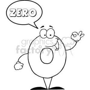 3450-Friendly-Number-0-Zero-Guy-With-Speech-Bubble clipart. Royalty-free image # 380951