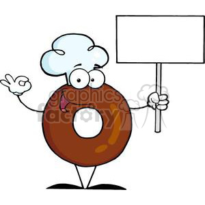 3469-Friendly-Donut-Cartoon-Character-Holding-A-Blank-Sign clipart. Royalty-free image # 380956