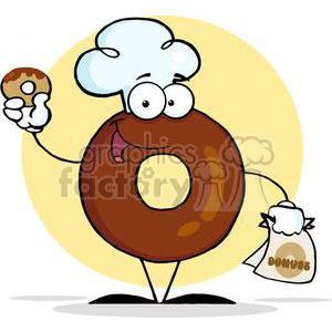 3480-Friendly-Donut-Cartoon-Character-Holding-A-Donut clipart. Royalty-free image # 380966