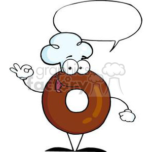 3466-Friendly-Donut-Cartoon-Character-With-Speech-Bubble clipart. Royalty-free image # 380976