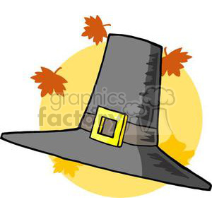 cartoon funny Holidays vector Thanksgiving hat pilgrim