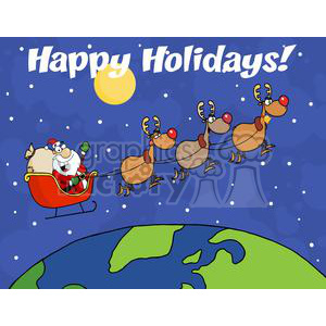 3344-Team-Of-Reindeer-And-Santa-In-His-Sleigh-Flying-Above-The-Globe clipart. Commercial use image # 380986