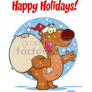 3422-Happy-Santa-Bear-Waving-A-Greeting-In-The-Snow clipart. Royalty-free image # 380996