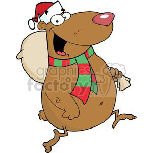 3317-Happy-Santa-Bear-Runs-With-Bag clipart. Royalty-free image # 381016