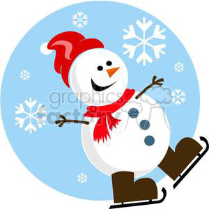 happy snowman with red hat and brown skates clipart. Royalty-free image # 381031
