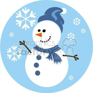 happy snowman with blue scarf clipart. Commercial use image # 381036