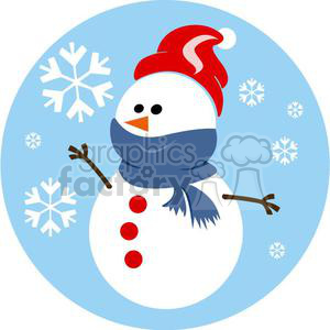 snowman with blue scarf and red hat