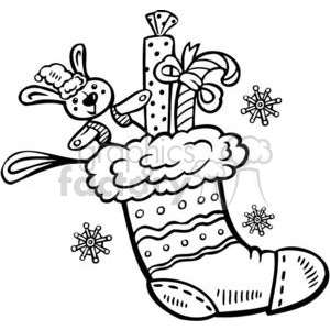 black and white stocking clipart. Commercial use image # 381065