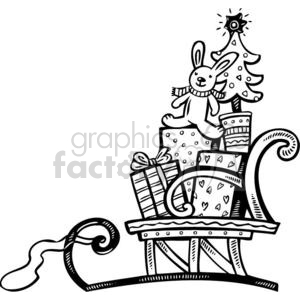 Christmas Xmas Holidays Happy Festive Black White cute funny cartoon vector royalty-free Santa Claus sleigh sleighs sled sleds gift gifts present presents