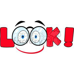 3609-Cartoon-Text-Look-With-Glasses clipart. Royalty-free image # 381222