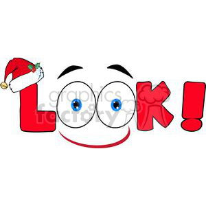Red-Cartoon-Text-Look-With-Santa-Hat clipart. Commercial use image # 381227