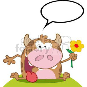 3794-Happy-Calf-Cartoon-Character-With-Flower clipart. Royalty-free image # 381232