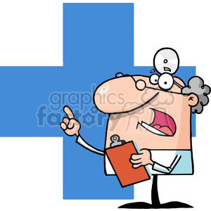 Male-Doctor-Holding-A-Clipboard-And-Hollering clipart. Royalty-free image # 381252