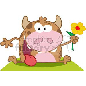 3793-Happy-Calf-Cartoon-Character-With-Flower clipart. Royalty-free image # 381257