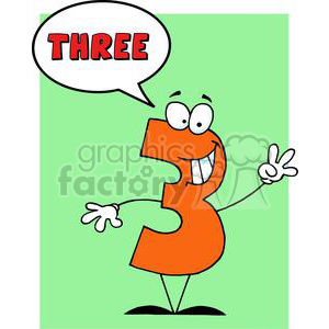 Funny-Number-Guy-Three-With-Speech-Bubble clipart. Royalty-free image # 381262